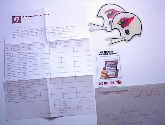 1985 St.Louis Cardinals Schedule and Letter