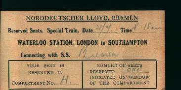 Special Railroad Ticket for Ocean Liner Breme