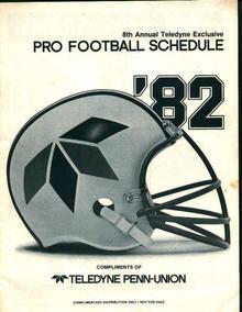 Pro Football Schdule 1982 Comp of Teledyne