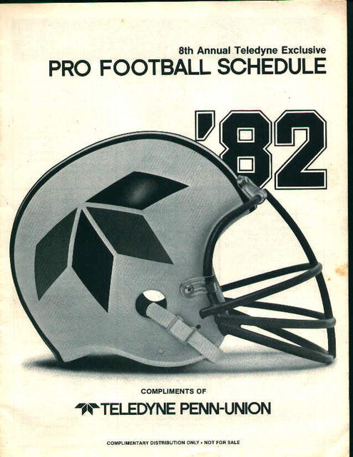 Pro Football Schdule 1982 Comp of Teledyne