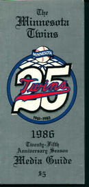 Minnesota Twins 1986 Media Guide! Schedule!