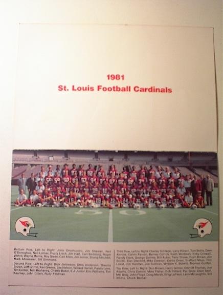 1981 St.Louis Cardinals Greetings Card