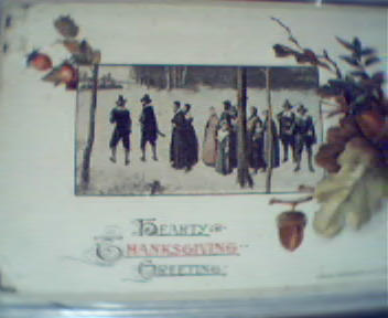Thanksgiving Card with Pilgrim Scene-Color!