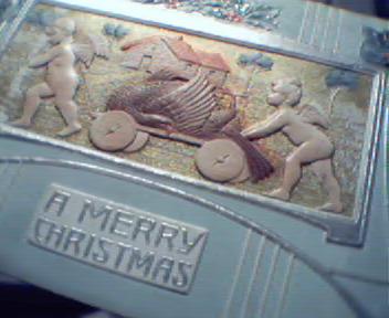 Christmas Card-Cherubs Pulling Cart with Bir
