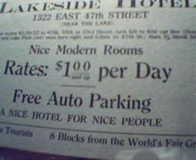 Lakeside Hotel Advertising Near Worlds Fair
