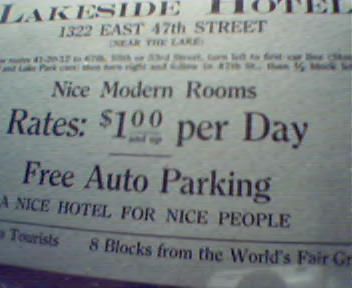 Lakeside Hotel Advertising Near Worlds Fair