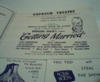 Orpheum Theatre-Getting Married by GB Shaw!