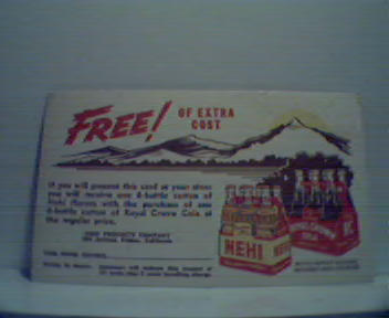 Nehi RC Cola  Coupon Post Card in Color!