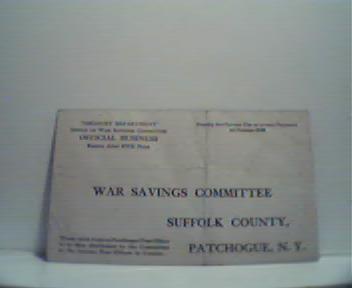 War Savings Committe Pledge Postcard!