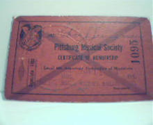 Pittsburgh Musical Society Cert of Membship