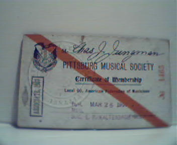 Pittsburg Musical Society Mem Card 1907!