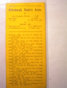 1948 Pittsburgh Umpire Assn. Members List