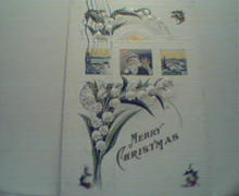 Merry Christmas Card with Santa,Holly Leaves!