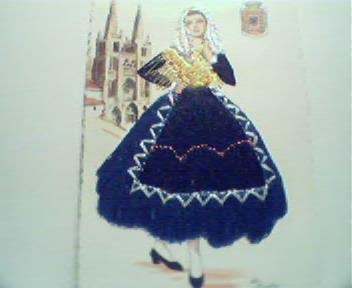 Tarjeta Postal-Embroidered Dress on Woman!