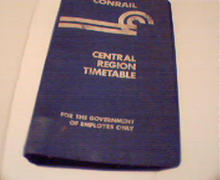 Conrail Central Region Timetable! Emp. Only