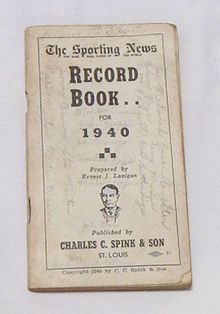 Spink 1940 Sporting News Record Book Baseball