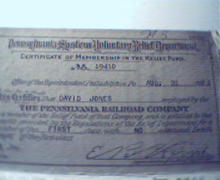 Pennsylvania Railroad Voluntary Relief Cert