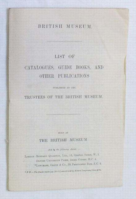 British Museum Catalog, booklet from ca 1920