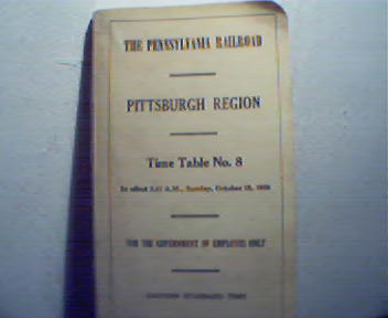 PA Railroad for Pgh Region Time Table No.8
