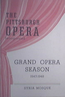 1947-1948 The Pittsburgh OPERA Grand Opera Season Progm