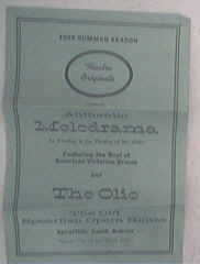 1958 The Old Spearfish Opera House Program