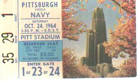 Pittsburgh vs  Navy Oct 24 1964 ticket