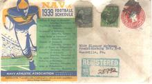 Navy 1939 Football Schedule Envelope