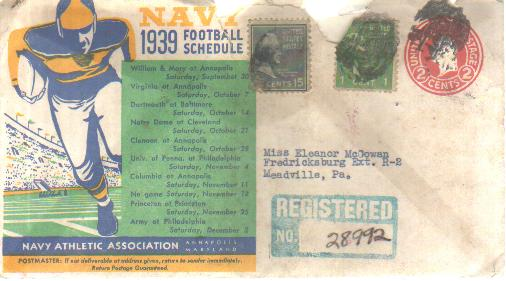 Navy 1939 Football Schedule Envelope