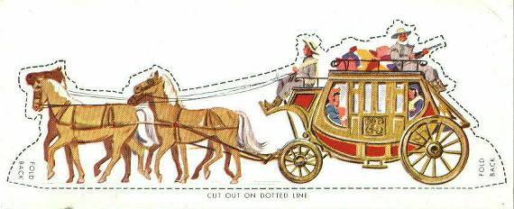 Fargo Stage Coach paper cut-out, 1954