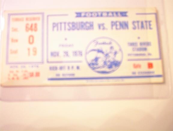 11/26/76 Pittsburgh vs Penn State Ticket Stub