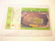 12/30/77 33rd Gator Bowl Game Ticket Stub