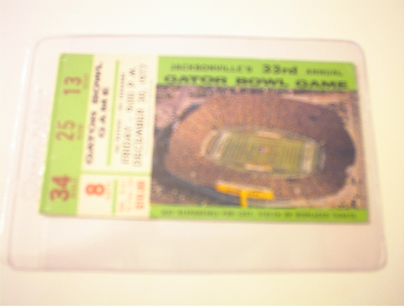 12/30/77 33rd Gator Bowl Game Ticket Stub