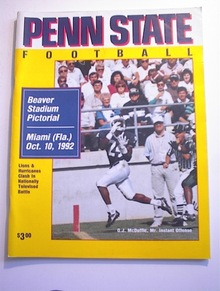 PENN STATE vs MIAMI Oct 10,1992 Program