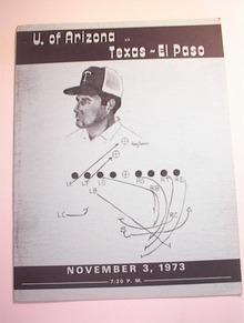 U.of Arizona vs Texas-El Paso,11/3/1973 Pgram