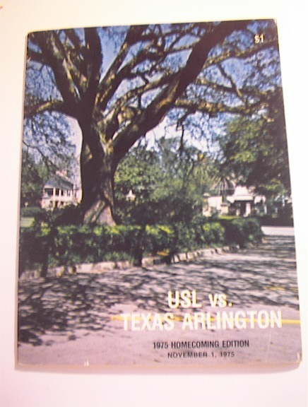 USL vs Texas Arlington 11/1/1975 Program