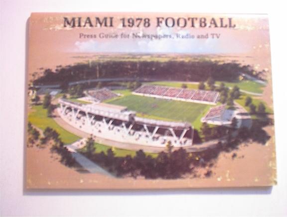 MIAMI 1978 Football Press Guide
