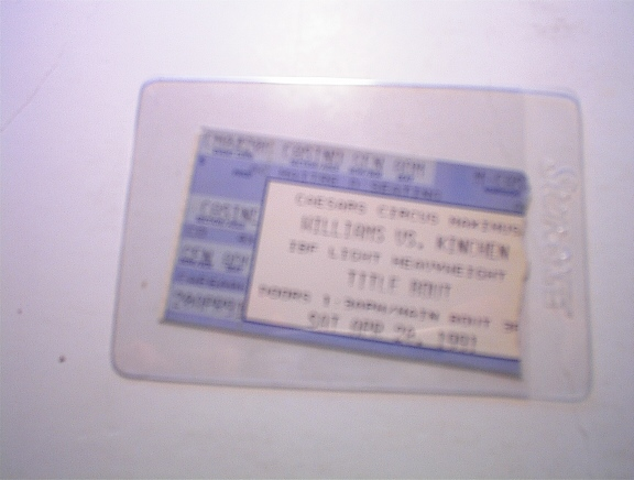 USED 4/20/1991 Williams vs. Kinchen Ticket