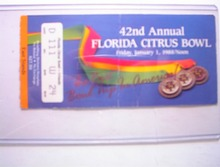 1/1/88 42nd Annual Florida Citrus Bowl Ticket