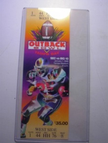 1/1/1996 Outback Bowl Tampa Stadium Ticket