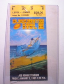 12/28/90 Blockbuster Bowl  Ticket Joe Robbie
