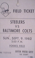 Steelers vs. Baltimore,9/9/62,Field Ticket