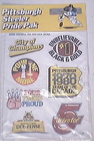 Pittsburgh Steeler Pride Pak Decals 1980