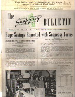 Snap-Easy W2 Tax Forms Ad & Bulletin 1948