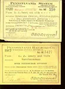 Penn RR employee Passes 1917 7 1920