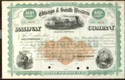 Chicago & South Western Railway Co Stock RARE