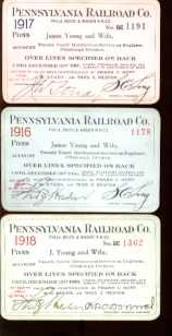 3 Pennsylvania RR Employee Passes 1916-18