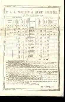 PennRR Passenger & Freight Schedule 1850