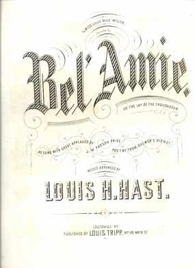 Bel Amie Lay of the Troubadour 1870 Kentucky