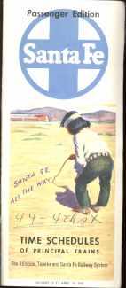 Beautiful Santa Fe time schedule 1960
