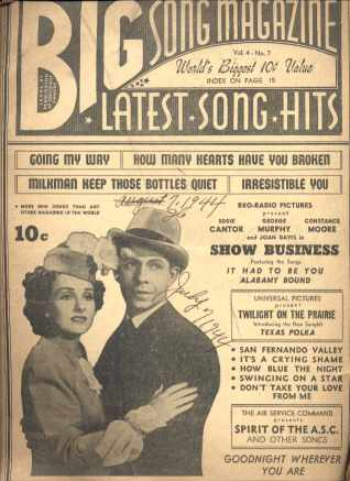 Eddie Cantor on Big Song Magazine July 1944
